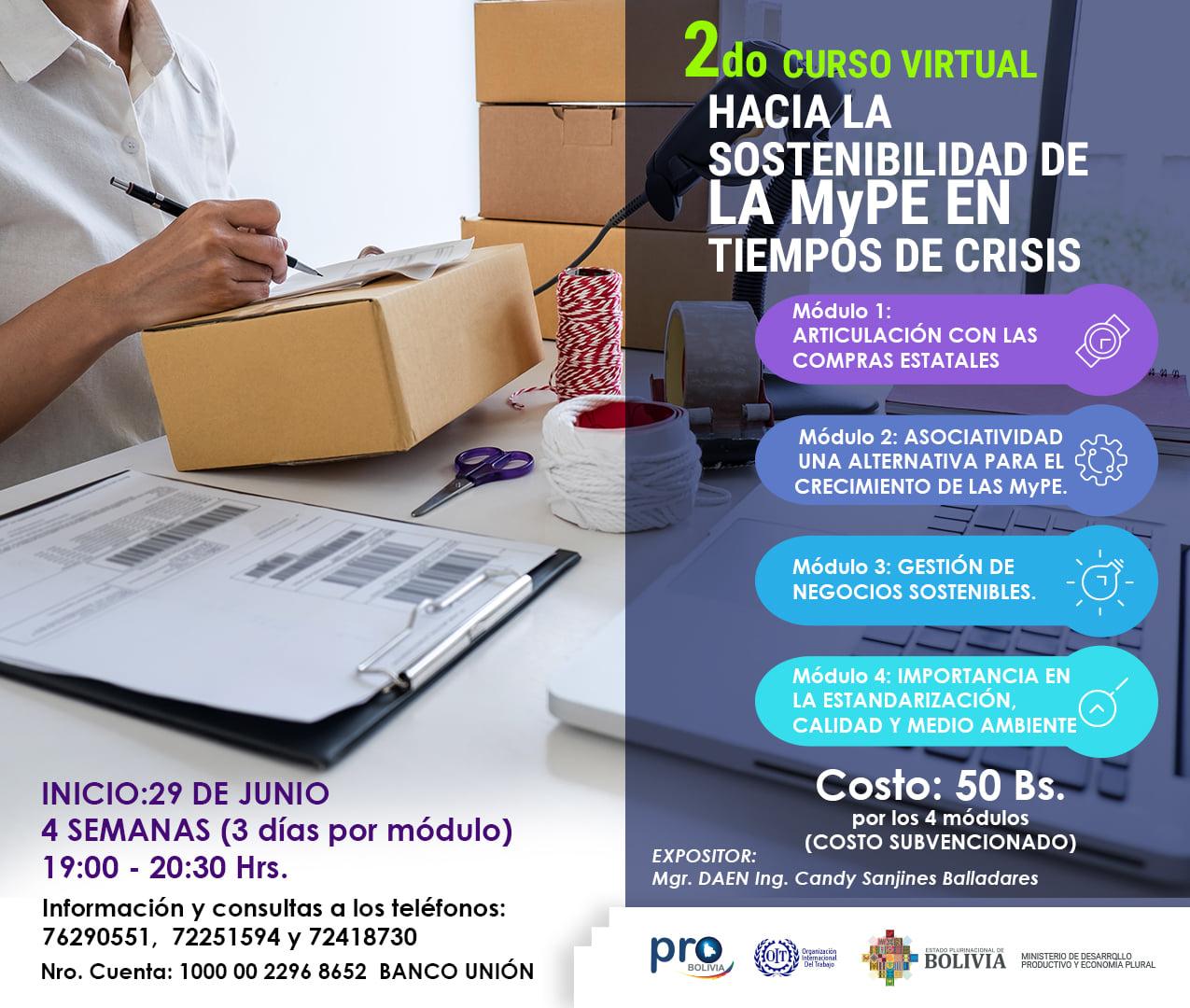 Curso en sostenibilidad de la MyPE en tiempos de crisis
