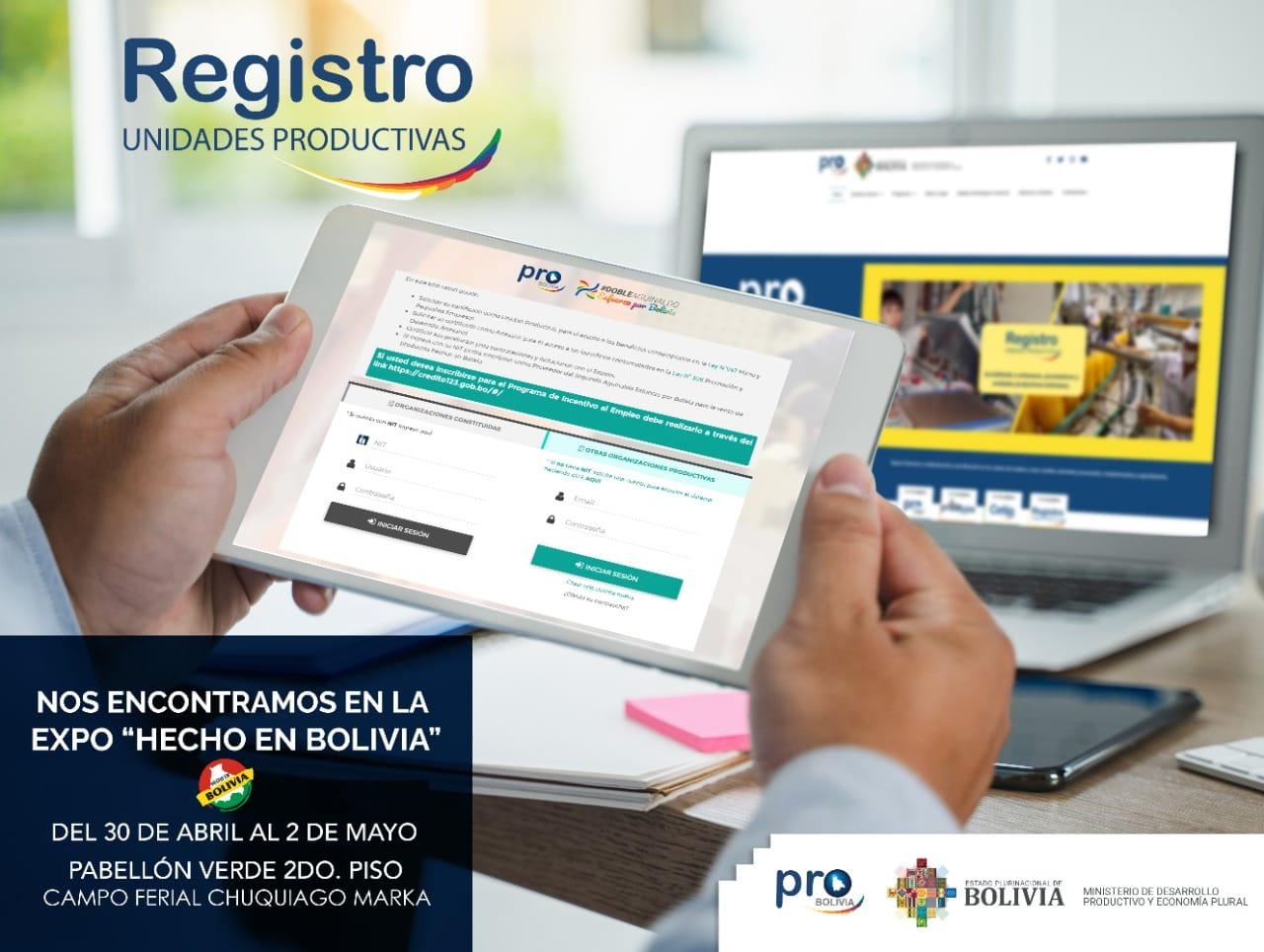 Imágen de Registros en la Expo Hecho en Bolivia 2021