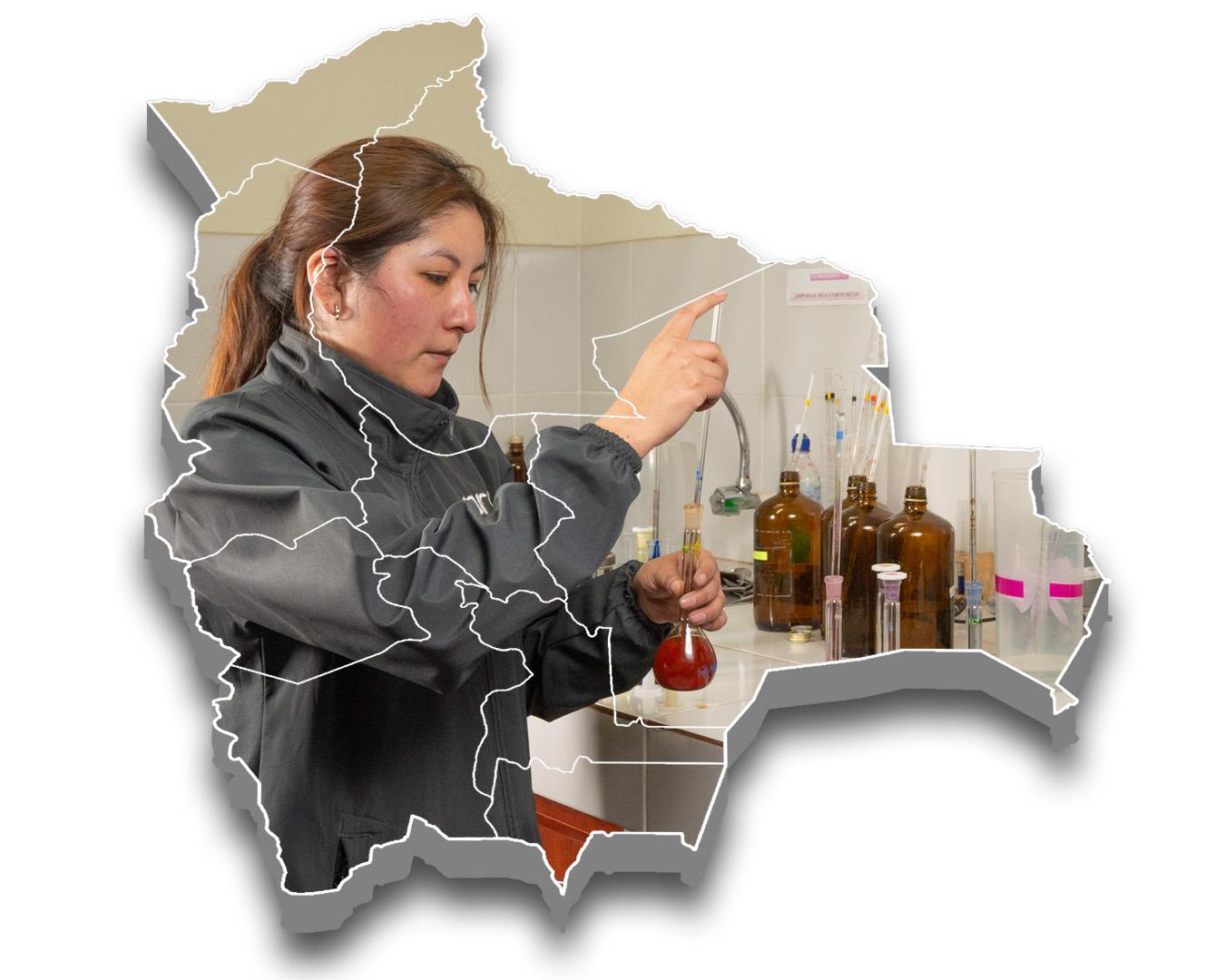 Mapa de Bolivia con mujer con pipeta haciendo experiments